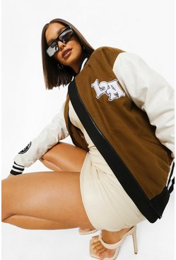 Tan brown La Embroidered Varsity Jacket
