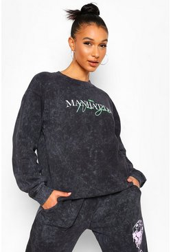 Charcoal Oversized Acid Wash Neon Slogan Sweatshirt
