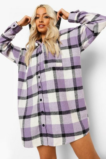 Lilac purple Hooded Check Oversized Shirt Dress