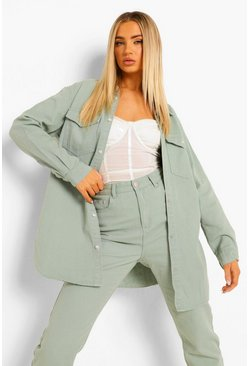 Sage green Oversized Pocket Denim Shirt