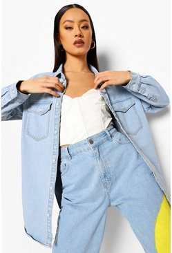 Light blue blue Oversized Pocket Denim Shirt