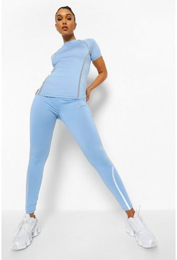 Baby blue blue Reflective Active Leggings