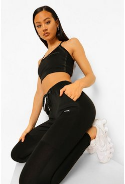 Black Tonal Reflective Sports Bra
