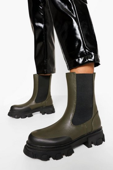 Khaki Chunky Cleated Sole Chelsea Boots