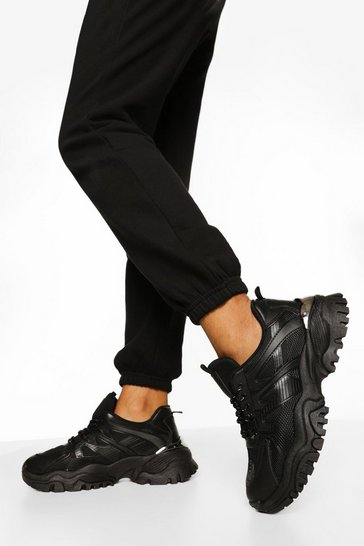 Black Chunky Cleated Sole Trainers