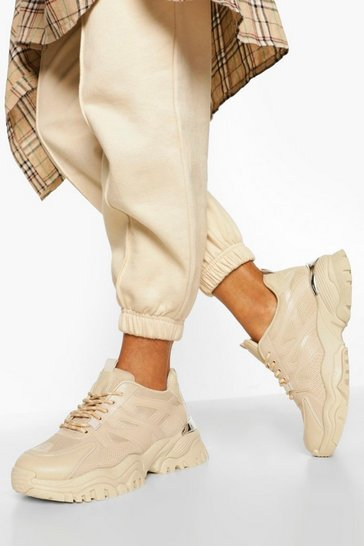 Stone beige Chunky Cleated Sole Trainers