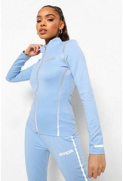 Baby blue blue Reflective Running Jacket
