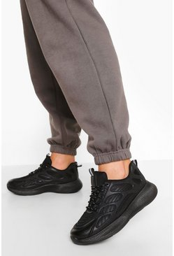 Black Knitted Panel Chunky Sports Sneakers