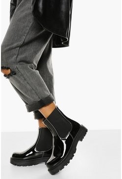 Black Wide Fit Patent Contrast Stitch Chunky Chelsea Boots