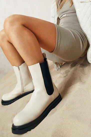 Ecru white Calf High Chunky Chelsea Boots