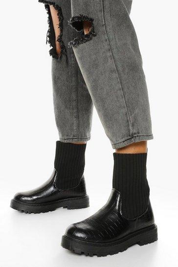 Black Wide Fit Croc Sock Detail Chelsea Boots