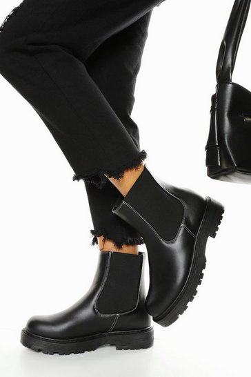 Black Wide Fit Contrast Stitch Chunky Chelsea Boots