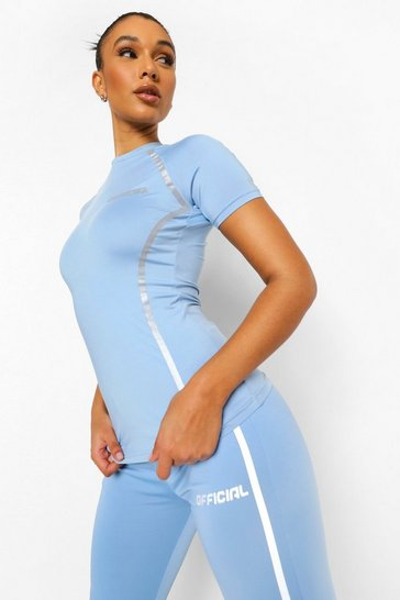 Baby blue blue Reflective Active Tshirt