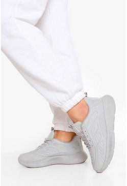 Grey Knitted Panel Chunky Sports Trainers