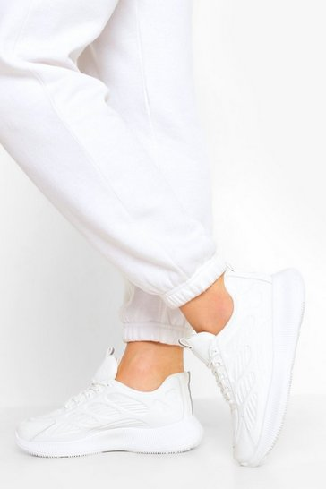 White Knitted Panel Chunky Sports Trainers