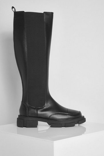 Black Chunky Knee High Chelsea Boots