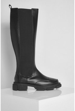 Chunky Knee High Chelsea Boots, Black schwarz