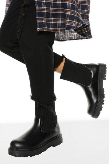 Black Wide Fit Sock Detail Chelsea Boots