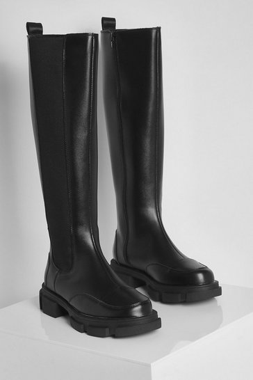 Black Wide Fit Chunky Knee High Chelsea Boots