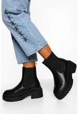 Black Wide Fit Chunky Sole Chelsea Boot