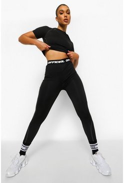 Black Tonal Reflective Active Leggings