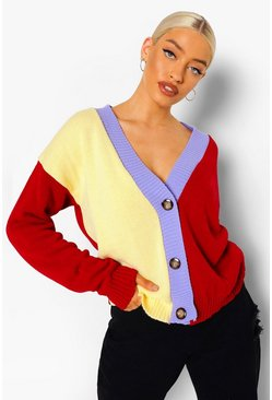 Red Rainbow Colour Block Cardigan