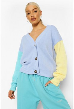 Blue Pastel Colour Block Cardigan