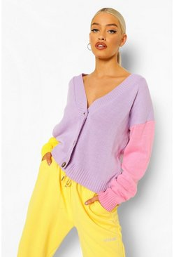 Lilac purple Pastel Colour Block Cardigan