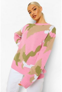 Pink Colour Block Camo Jumper