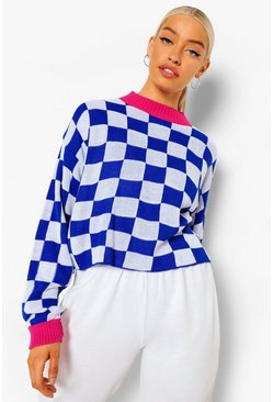 Cobalt blue Moto Check Crop Sweater