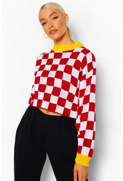 Red Moto Check Crop Sweater