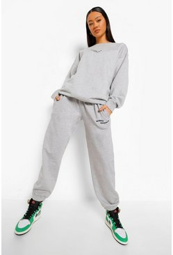 Grey marl grey Woman Official Embroidered Oversized Tracksuit