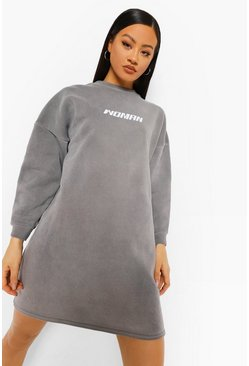 Black Woman Acid Wash Oversized Sweater Dress