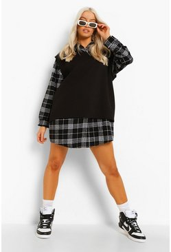 Black 2 In 1 Check Shirt Dress And Sweatshirt
