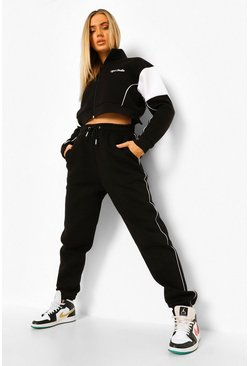 Black Ofcl Studio Cropped Funnel Neck Tracksuit