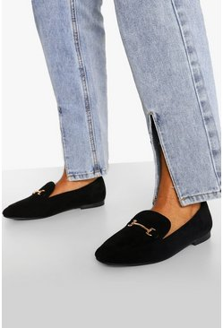 Black svart Basic Loafers med spänne