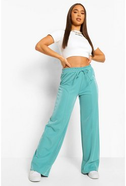 Turquoise blue Piping Detail Wide Leg Luxe Jogger