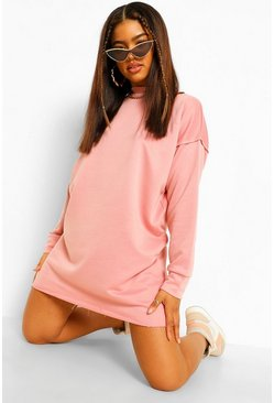 Rose Arm Seam Detail Oversized Sweater Dress