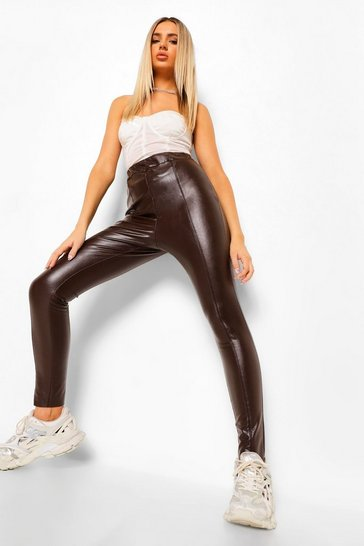 Chocolate brown Premium Sculpting Leather Look Trousers