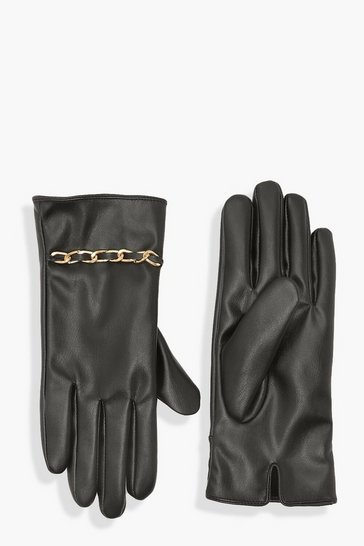 Black Chunky Chain Trim Gloves