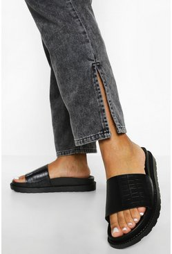 Black Croc Single Strap Footbed Slider