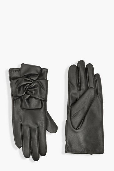 Black Twist Knot Pu Glove
