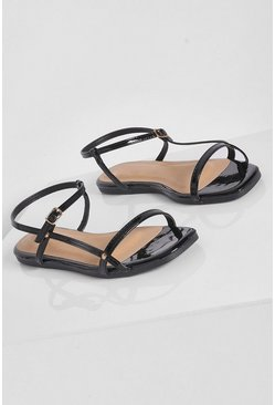 Wide Fit Strappy Patent Sandal, Black schwarz