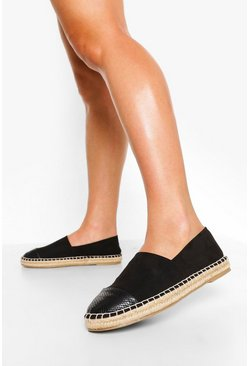 Black Wide Fit Closed Toe Espadrille