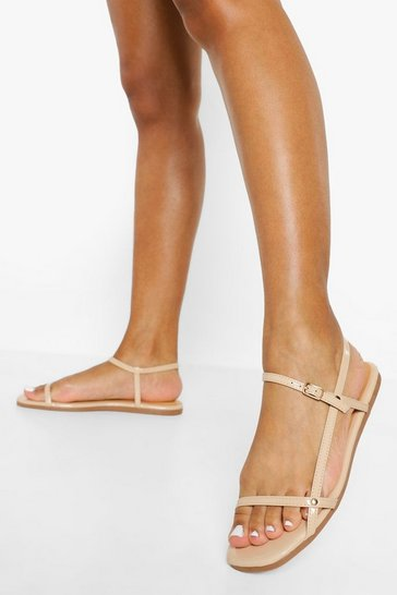 Nude Strappy Patent Sandal