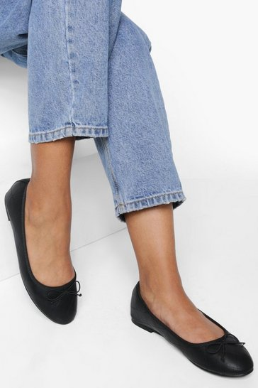 Black Wide Fit Quilted Ballet Pumps