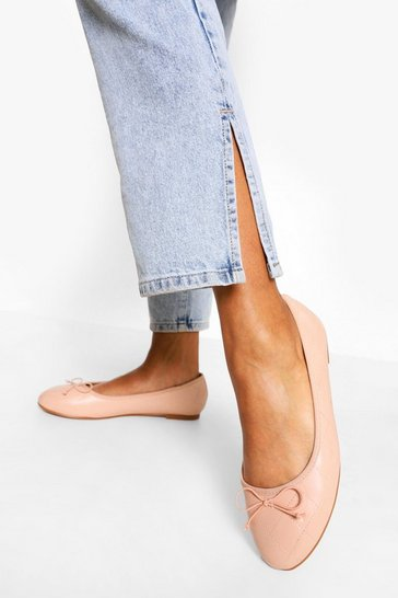Nude Wide Fit Quilted Ballet Pumps