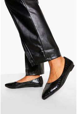Black Wide Fit Croc Pointed Toe Ballet Pumps