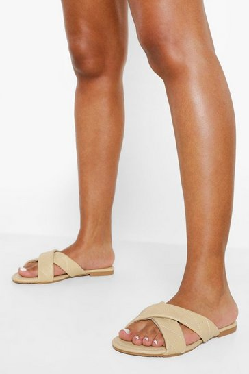 Nude Crossover Quilted Mule