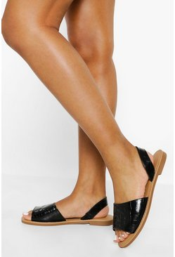 Black Croc Banana Back Sandal